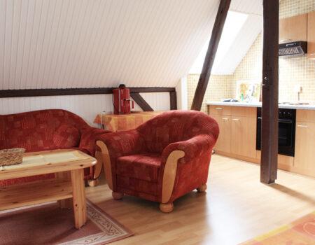 Ferienwohnung Kastanie - Wohnbereich und Küchenzeile mit Komplettausstattung