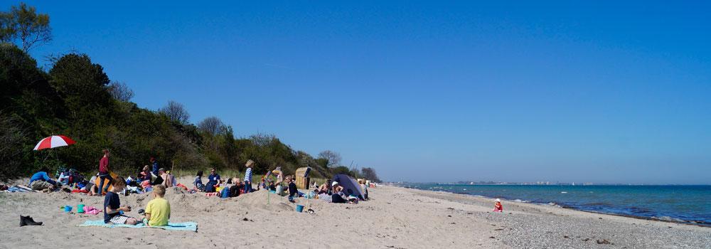 Unser breiter Natursandstrand (kurtaxfrei), genug Platz zu toben, buddeln und kitesurfen